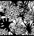 hand drawn tropical summer background hydrangea vector image