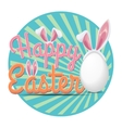 Happy Easter poster with rabbit ears vector image