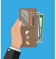 human hands holding opened wallet vector image