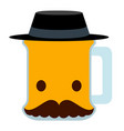 isolated beer character icon vector image vector image