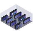 isometric datacenter hosting servers room concept vector image