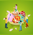 isometric people painting traditional easter eggs vector image vector image