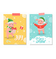 let it snow and joy postcard pig new year symbol vector image vector image