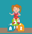 little girl playing with toys character vector image vector image