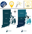 map of rhode island with regions vector image vector image
