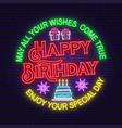 may all your wishes come true neon sign happy vector image vector image