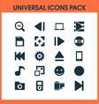 multimedia icons set with slow backward record vector image