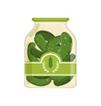 pickled cucumbers in glass jar with brand label vector image