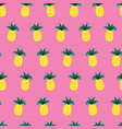 pineapples doodle style on pink seamless vector image vector image