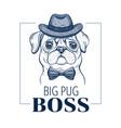pug boss dog t-shirt print design cool animal vector image vector image