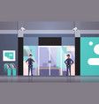 security guard men working at entrance door vector image