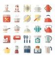 set kitchen icons in flat design vector image vector image