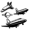 set of space shuttle icons on white background vector image