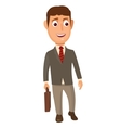 Standing businessman holding a briefcase and vector image