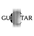 stylish logo with guitar strings monochrome vector image vector image