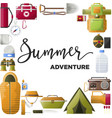 summer adventure promo poster with equipment for vector image vector image