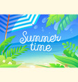 summer time colorful banner with tropical plants vector image vector image
