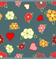 sweet flowers and hearts on a denim blue vector image vector image