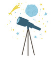 telescope and falling star planet cosmic bodies vector image vector image