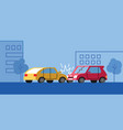 two cars had an accident on a city street vector image