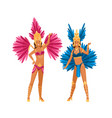 two woman in brazilian carnival costume posing vector image vector image