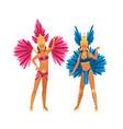 two woman in brazilian carnival costume posing vector image