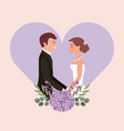 wedding card bride and groom holding hands in vector image vector image