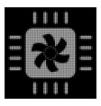 white halftone cpu cooler icon vector image vector image