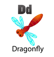 Alphabet D with dragonfly vector image