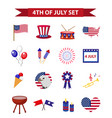 set of patriotic icons independence day of america vector image