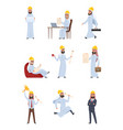 Arabic builders characters set isolate on white vector image