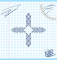 arrows in four directions line sketch icon vector image