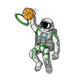 astronaut spaceman which play basketball vector image vector image