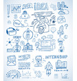 business doodles sketch set infographics vector image vector image