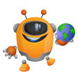 cartoon robot holding a globe on white background vector image