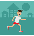Cartoon running guy Night summer time House tree vector image vector image