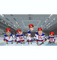 cartoon team with five funny hockey players on vector image vector image