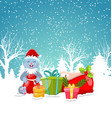 christmas bunny with present gift boxes santa bag vector image
