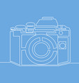 continuous line drawing photo camera vector image vector image