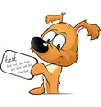 cute dog peeking holding a sign with the vector image vector image