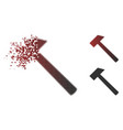 decomposed dot halftone hammer icon vector image vector image