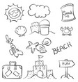 doodle object summer beach hand draw vector image vector image