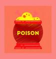 flat shading style icon potion cauldron vector image vector image