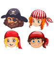 Four faces of pirate crews vector image
