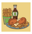 fried chicken combo fast food vector image