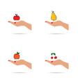 fruit in hands set vector image vector image
