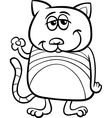funny cat character coloring page vector image vector image