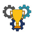 gear machine with trophy cup isolated icon vector image