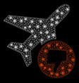 glowing mesh network airplane fail with flare vector image vector image