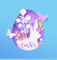 happy easter 3d paper cut rabbit egg spring card vector image vector image